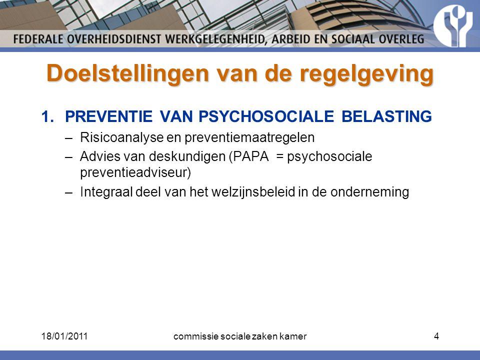 Doelstellingen van de regelgeving 1.PREVENTIE VAN PSYCHOSOCIALE BELASTING –Risicoanalyse en preventiemaatregelen –Advies van deskundigen (PAPA = psych