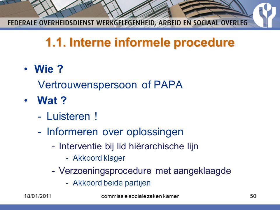 1.1. Interne informele procedure Wie ? Vertrouwenspersoon of PAPA Wat ? -Luisteren ! -Informeren over oplossingen -Interventie bij lid hiërarchische l