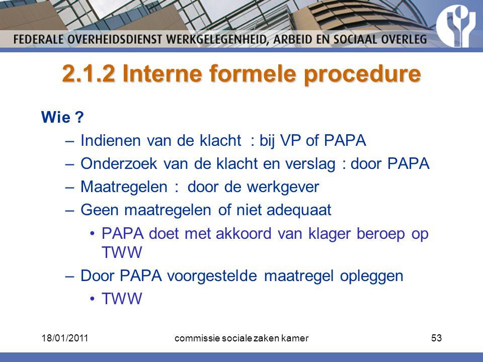 2.1.2 Interne formele procedure Wie ? –Indienen van de klacht : bij VP of PAPA –Onderzoek van de klacht en verslag : door PAPA –Maatregelen : door de