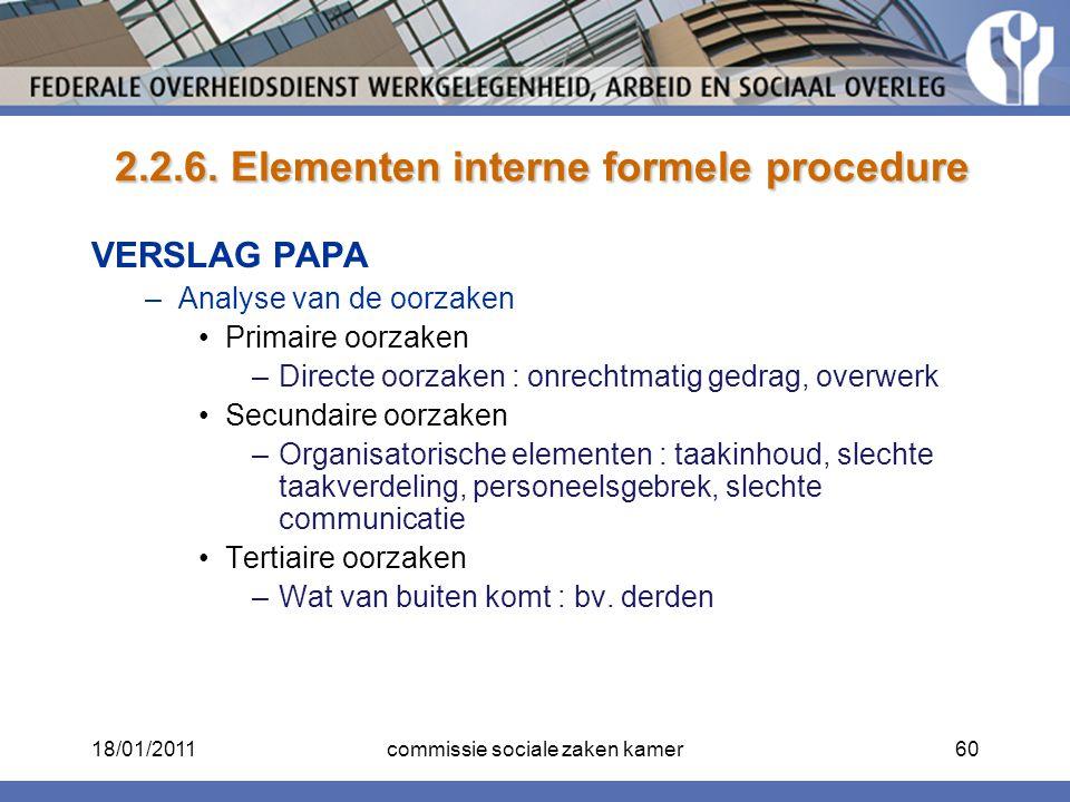 2.2.6. Elementen interne formele procedure 2.2.6. Elementen interne formele procedure VERSLAG PAPA –Analyse van de oorzaken Primaire oorzaken –Directe