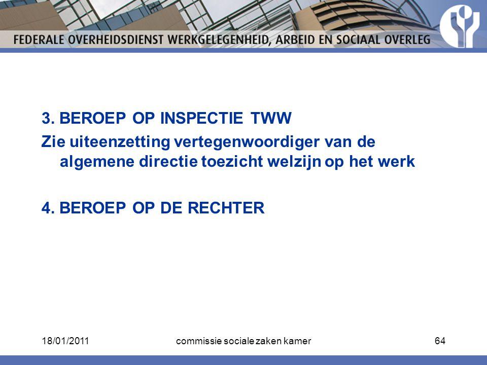 3. BEROEP OP INSPECTIE TWW Zie uiteenzetting vertegenwoordiger van de algemene directie toezicht welzijn op het werk 4. BEROEP OP DE RECHTER 18/01/201