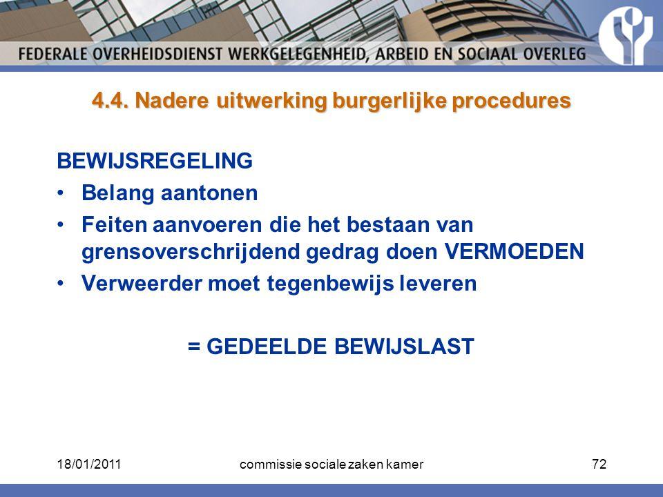 4.4. Nadere uitwerking burgerlijke procedures BEWIJSREGELING Belang aantonen Feiten aanvoeren die het bestaan van grensoverschrijdend gedrag doen VERM