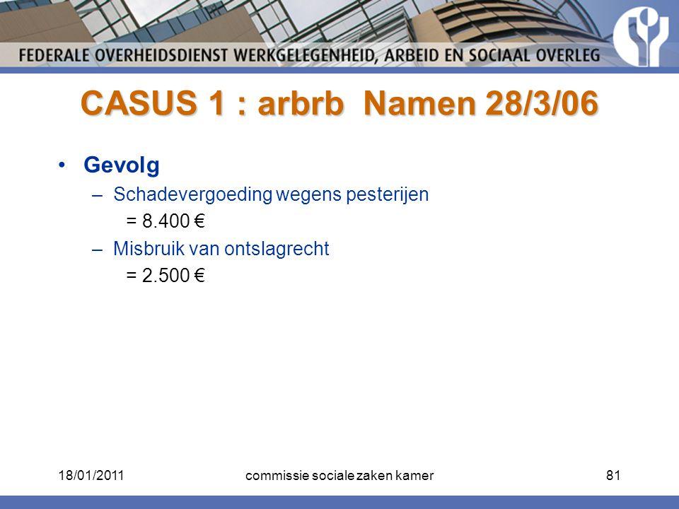 CASUS 1 : arbrb Namen 28/3/06 Gevolg –Schadevergoeding wegens pesterijen = 8.400 € –Misbruik van ontslagrecht = 2.500 € 18/01/201181commissie sociale