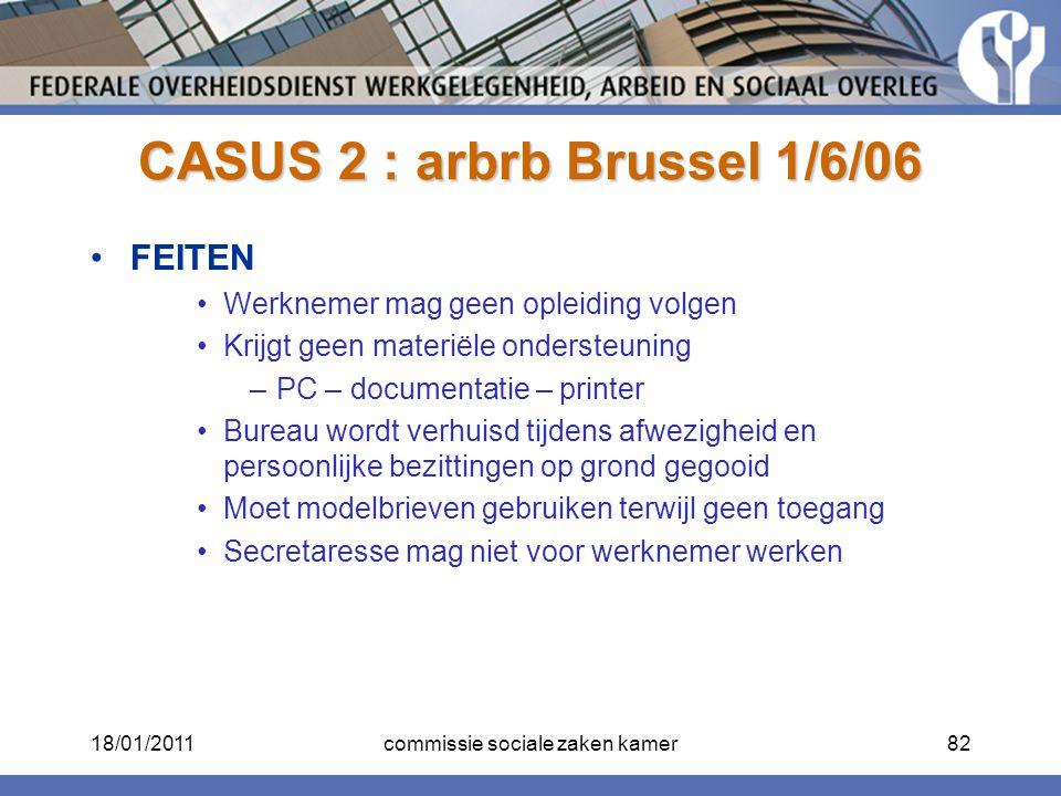 CASUS 2 : arbrb Brussel 1/6/06 FEITEN Werknemer mag geen opleiding volgen Krijgt geen materiële ondersteuning –PC – documentatie – printer Bureau word