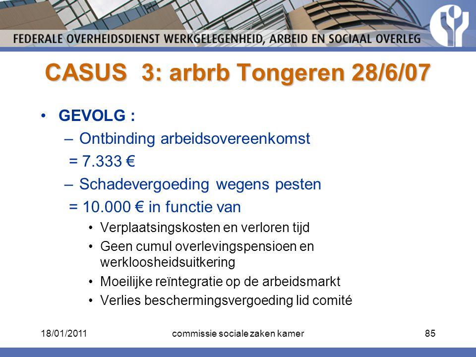 CASUS 3: arbrb Tongeren 28/6/07 GEVOLG : –Ontbinding arbeidsovereenkomst = 7.333 € –Schadevergoeding wegens pesten = 10.000 € in functie van Verplaats