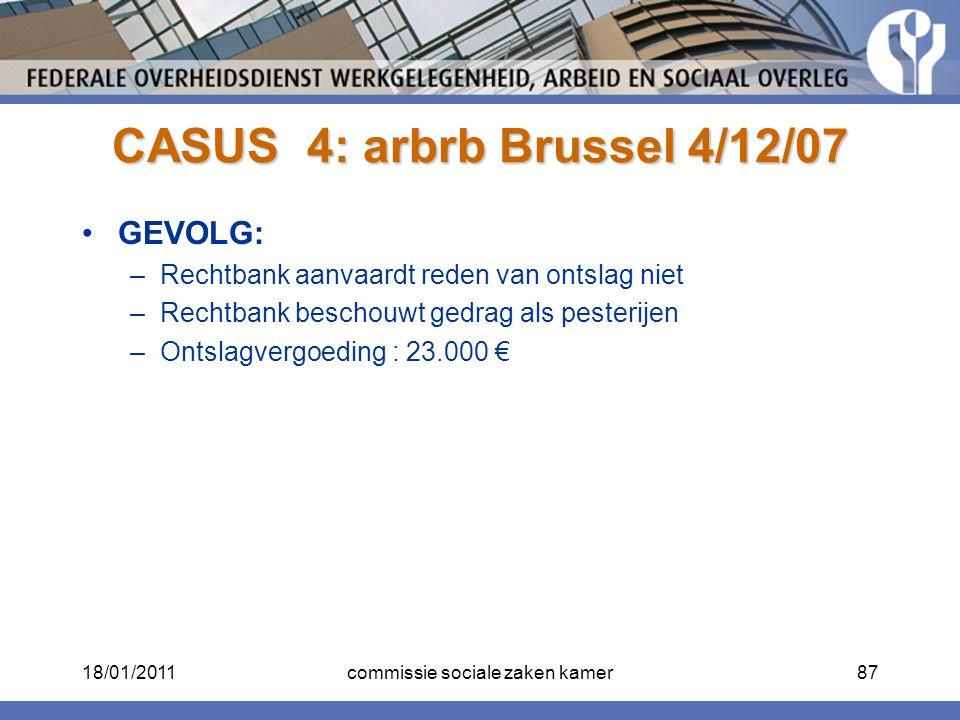 CASUS 4: arbrb Brussel 4/12/07 GEVOLG: –Rechtbank aanvaardt reden van ontslag niet –Rechtbank beschouwt gedrag als pesterijen –Ontslagvergoeding : 23.