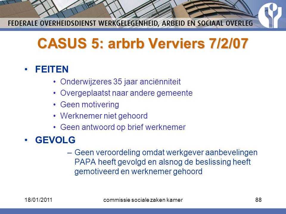 CASUS 5: arbrb Verviers 7/2/07 FEITEN Onderwijzeres 35 jaar anciënniteit Overgeplaatst naar andere gemeente Geen motivering Werknemer niet gehoord Gee