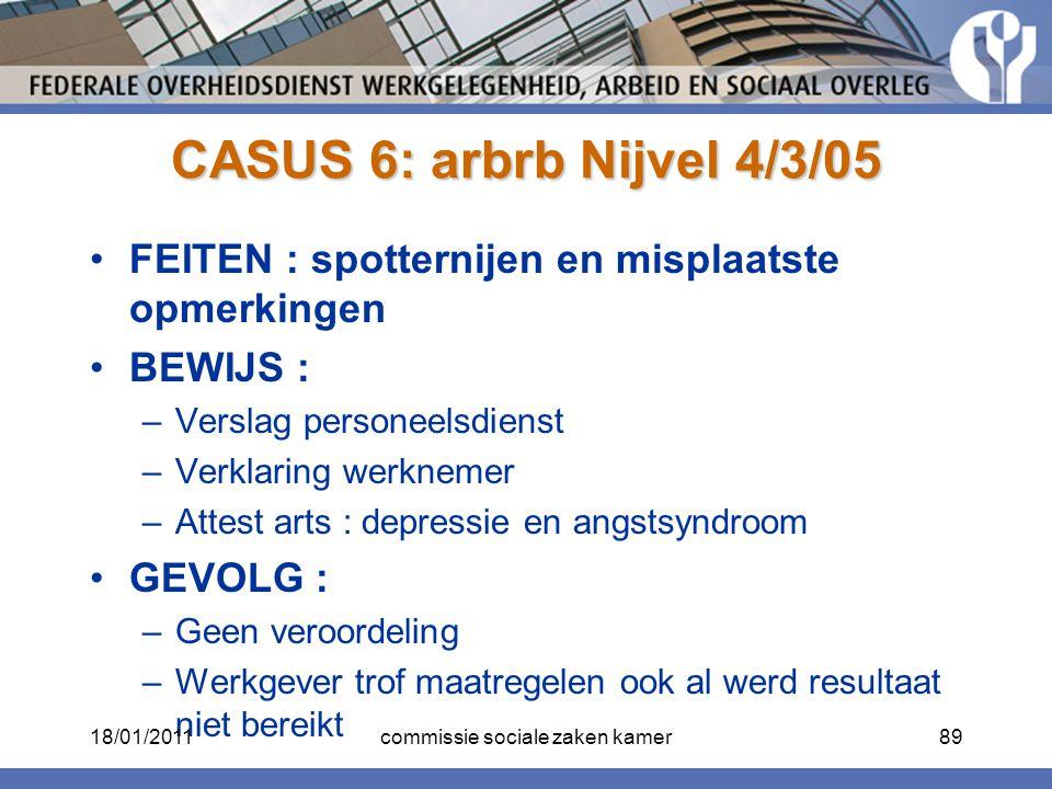 CASUS 6: arbrb Nijvel 4/3/05 FEITEN : spotternijen en misplaatste opmerkingen BEWIJS : –Verslag personeelsdienst –Verklaring werknemer –Attest arts :
