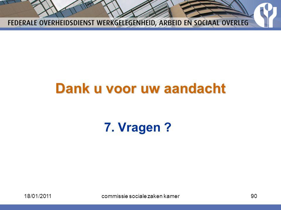 Dank u voor uw aandacht 7. Vragen ? 18/01/201190commissie sociale zaken kamer