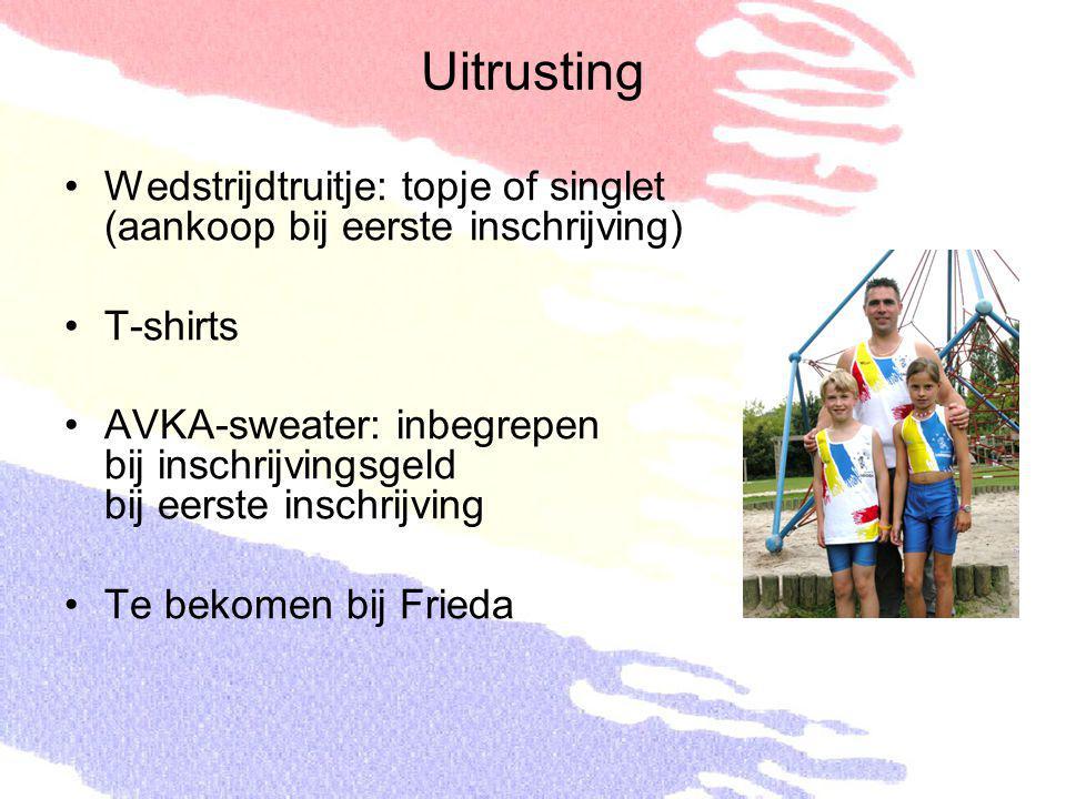 Uitrusting Wedstrijdtruitje: topje of singlet (aankoop bij eerste inschrijving) T-shirts AVKA-sweater: inbegrepen bij inschrijvingsgeld bij eerste ins