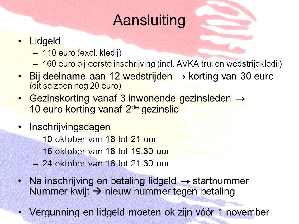 Aansluiting Lidgeld –110 euro (excl. kledij) –160 euro bij eerste inschrijving (incl. AVKA trui en wedstrijdkledij) Bij deelname aan 12 wedstrijden 