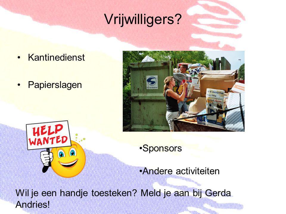 Vrijwilligers? Kantinedienst Papierslagen Sponsors Andere activiteiten Wil je een handje toesteken? Meld je aan bij Gerda Andries!