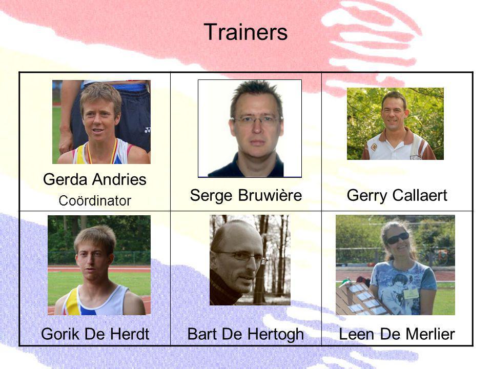 Trainers Gerda Andries Coördinator Serge BruwièreGerry Callaert Gorik De HerdtBart De HertoghLeen De Merlier