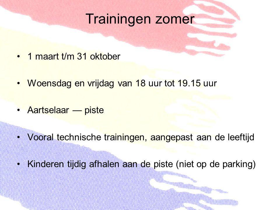 Trainingen zomer 1 maart t/m 31 oktober Woensdag en vrijdag van 18 uur tot 19.15 uur Aartselaar — piste Vooral technische trainingen, aangepast aan de
