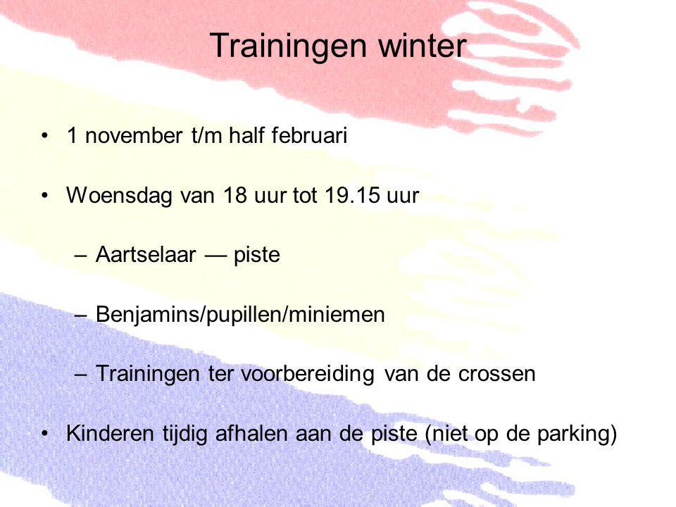 1 november t/m half februari Woensdag van 18 uur tot 19.15 uur –Aartselaar — piste –Benjamins/pupillen/miniemen –Trainingen ter voorbereiding van de c
