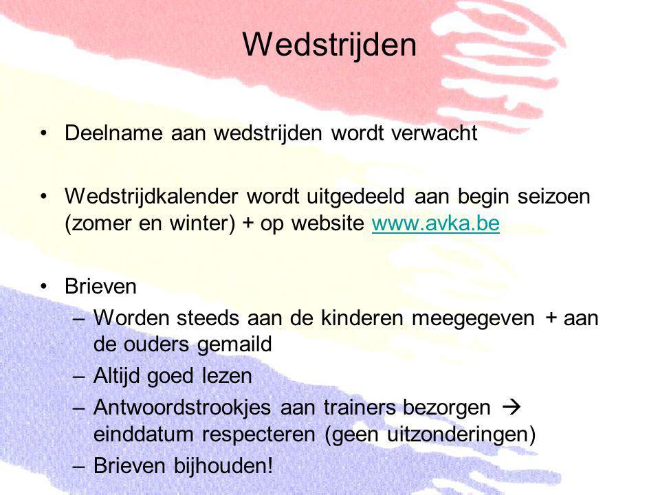Wedstrijden Deelname aan wedstrijden wordt verwacht Wedstrijdkalender wordt uitgedeeld aan begin seizoen (zomer en winter) + op website www.avka.bewww