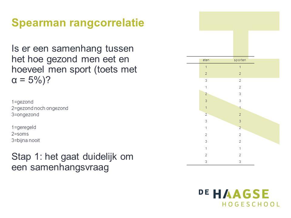 Spearman rangcorrelatie Is er een samenhang tussen het hoe gezond men eet en hoeveel men sport (toets met α = 5%)? 1=gezond 2=gezond noch ongezond 3=o