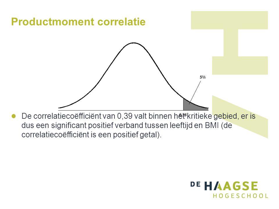 Productmoment correlatie De correlatiecoëfficiënt van 0,39 valt binnen het kritieke gebied, er is dus een significant positief verband tussen leeftijd