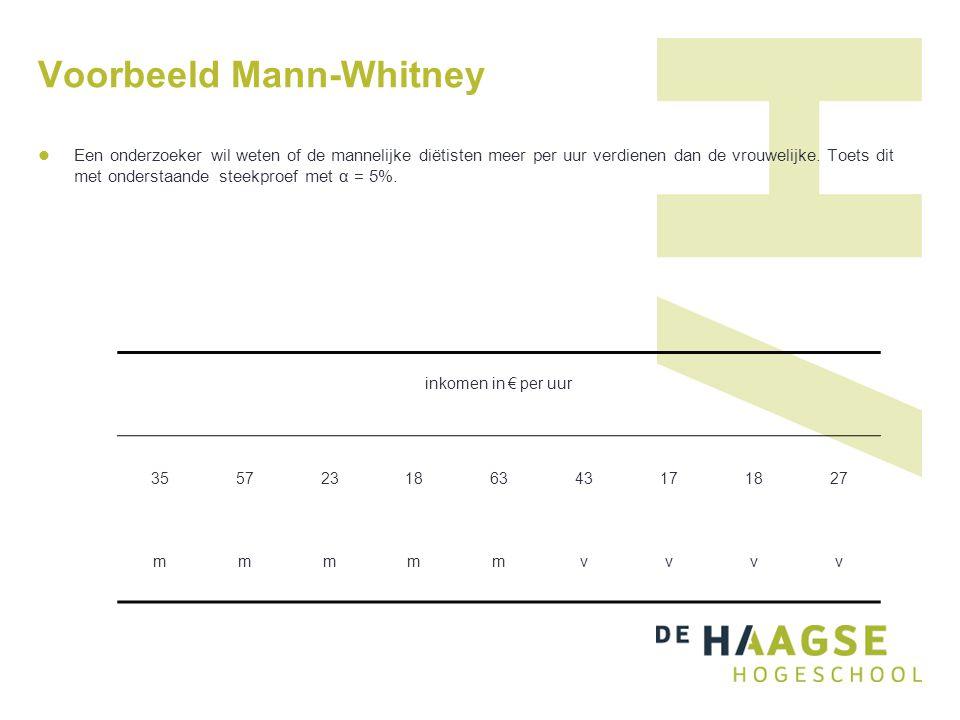 Voorbeeld Mann-Whitney Een onderzoeker wil weten of de mannelijke diëtisten meer per uur verdienen dan de vrouwelijke. Toets dit met onderstaande stee