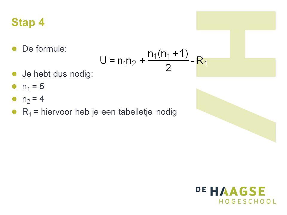 Stap 4 De formule: Je hebt dus nodig: n 1 = 5 n 2 = 4 R 1 = hiervoor heb je een tabelletje nodig