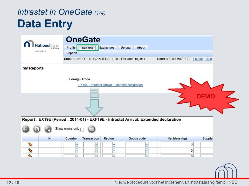 Nieuwe procedure voor het indienen van Intrastataangiften bij NBB 12 / 18 Intrastat in OneGate (1/4) Data Entry DEMO