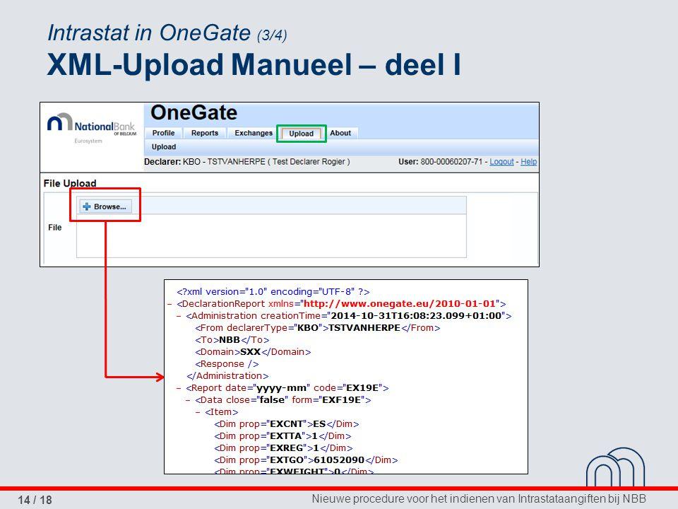 Nieuwe procedure voor het indienen van Intrastataangiften bij NBB 14 / 18 Intrastat in OneGate (3/4) XML-Upload Manueel – deel I
