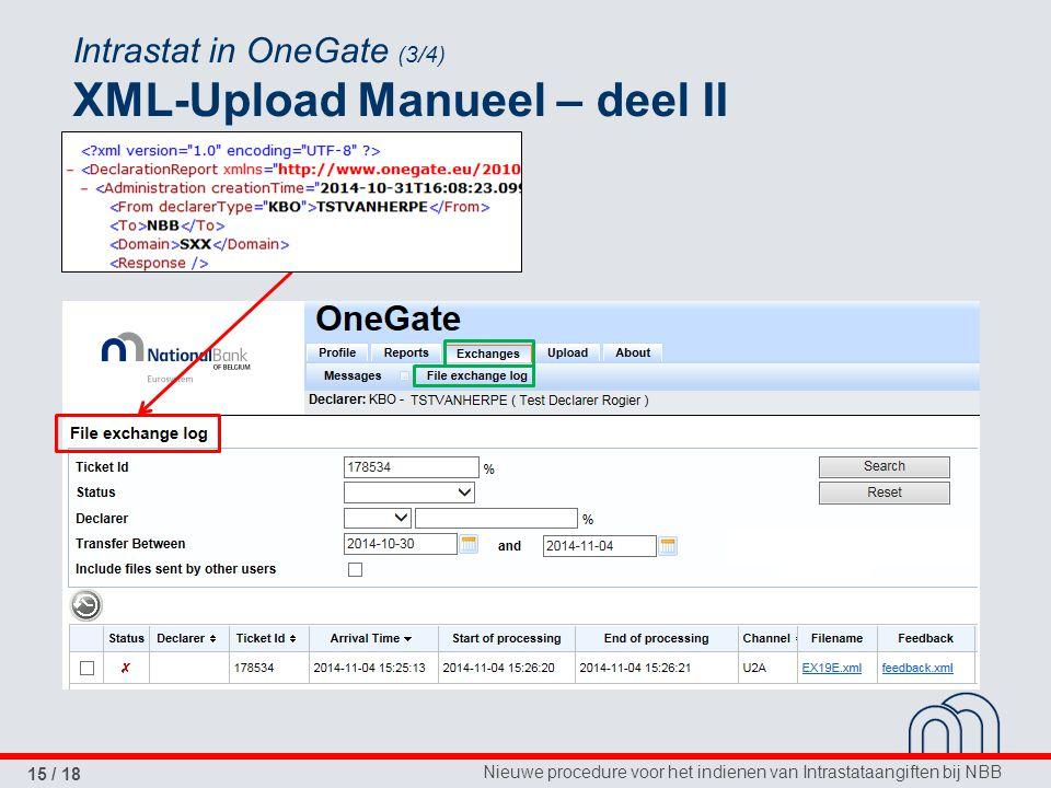 Nieuwe procedure voor het indienen van Intrastataangiften bij NBB 15 / 18 Intrastat in OneGate (3/4) XML-Upload Manueel – deel II