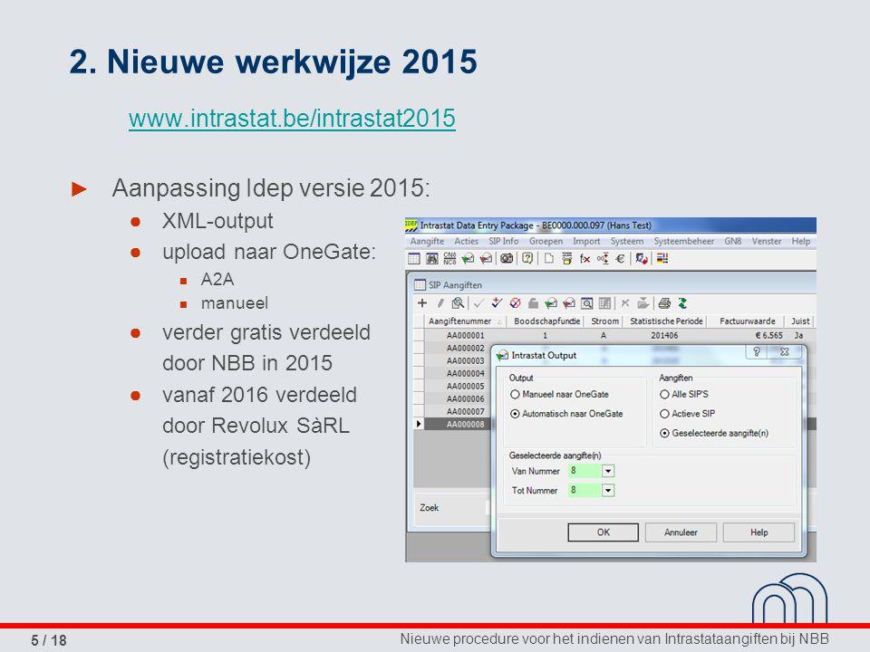 Nieuwe procedure voor het indienen van Intrastataangiften bij NBB 5 / 18 2.