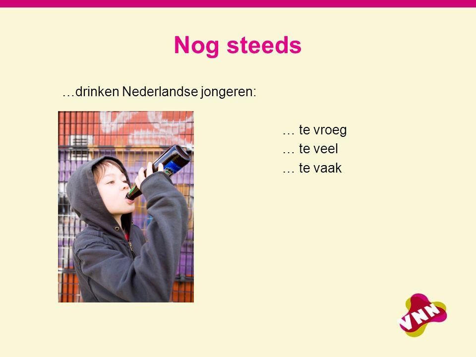 Nog steeds …drinken Nederlandse jongeren: … te vroeg … te veel … te vaak