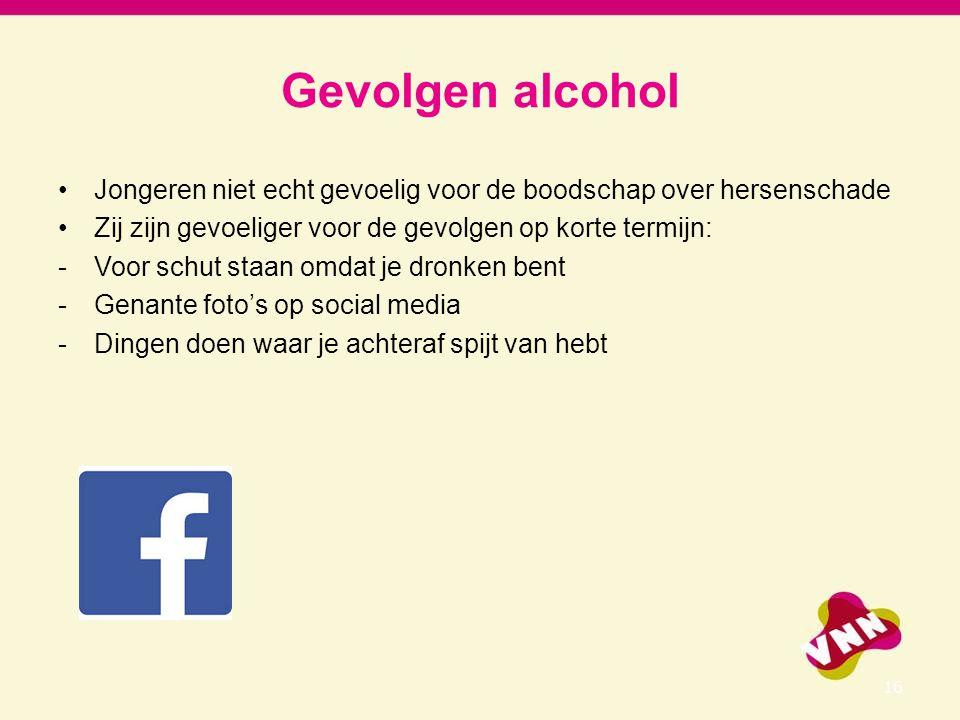 Gevolgen alcohol Jongeren niet echt gevoelig voor de boodschap over hersenschade Zij zijn gevoeliger voor de gevolgen op korte termijn: -Voor schut st