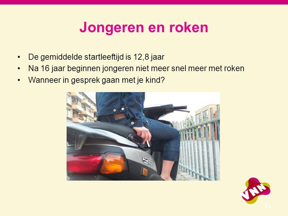 Jongeren en roken De gemiddelde startleeftijd is 12,8 jaar Na 16 jaar beginnen jongeren niet meer snel meer met roken Wanneer in gesprek gaan met je k