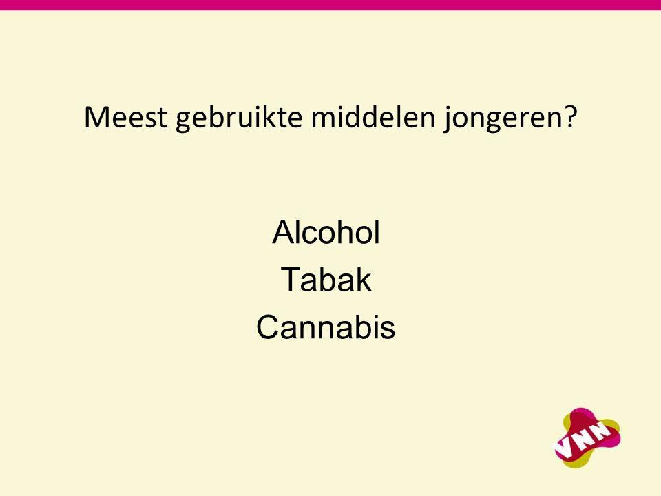Meest gebruikte middelen jongeren? Alcohol Tabak Cannabis