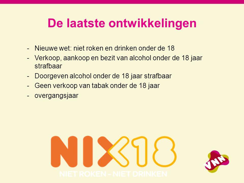 De laatste ontwikkelingen -Nieuwe wet: niet roken en drinken onder de 18 -Verkoop, aankoop en bezit van alcohol onder de 18 jaar strafbaar -Doorgeven