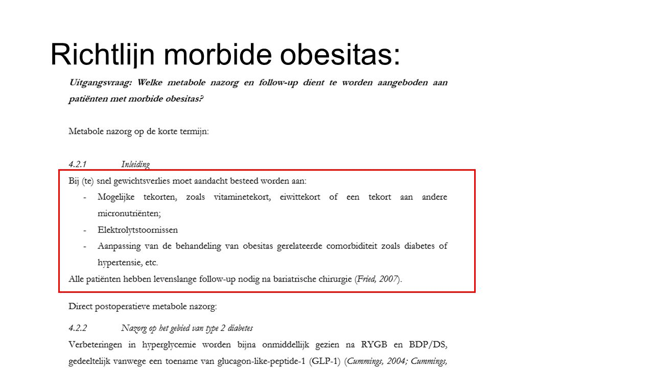 Richtlijn morbide obesitas: