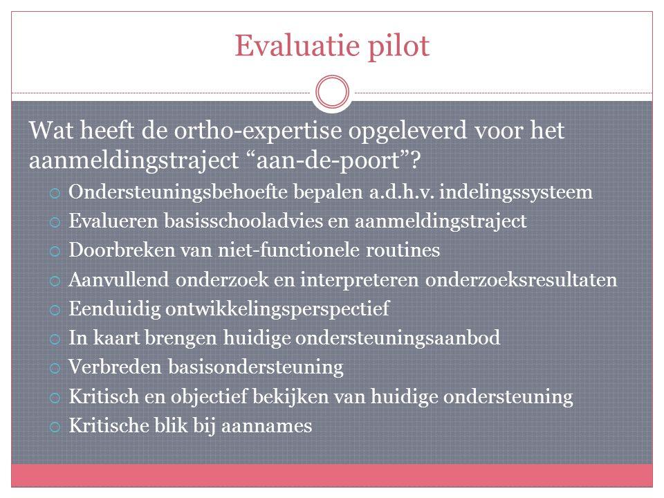Evaluatie pilot Wat heeft de ortho-expertise opgeleverd voor het aanmeldingstraject aan-de-poort .