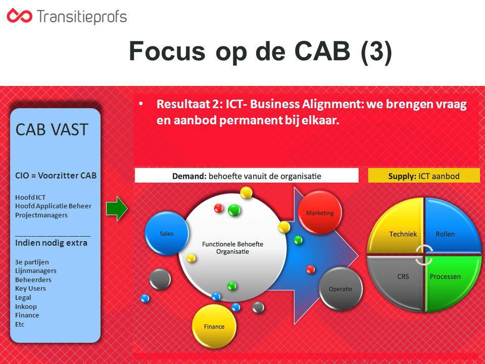 Focus op de CAB (3) Resultaat 2: ICT- Business Alignment: we brengen vraag en aanbod permanent bij elkaar. CAB VAST CIO = Voorzitter CAB Hoofd ICT Hoo