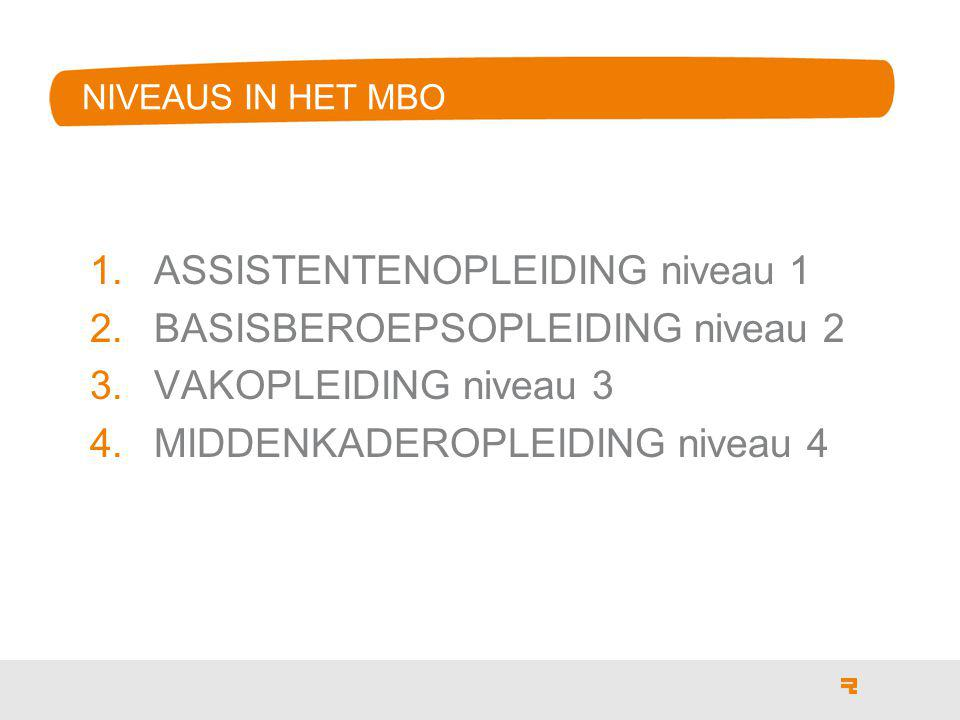 NIVEAUS IN HET MBO 1.ASSISTENTENOPLEIDING niveau 1 2.BASISBEROEPSOPLEIDING niveau 2 3.VAKOPLEIDING niveau 3 4.MIDDENKADEROPLEIDING niveau 4