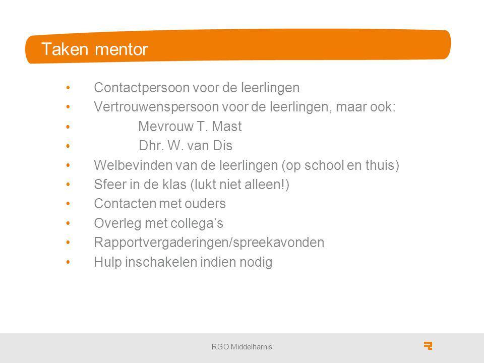 Taken mentor Contactpersoon voor de leerlingen Vertrouwenspersoon voor de leerlingen, maar ook: Mevrouw T. Mast Dhr. W. van Dis Welbevinden van de lee