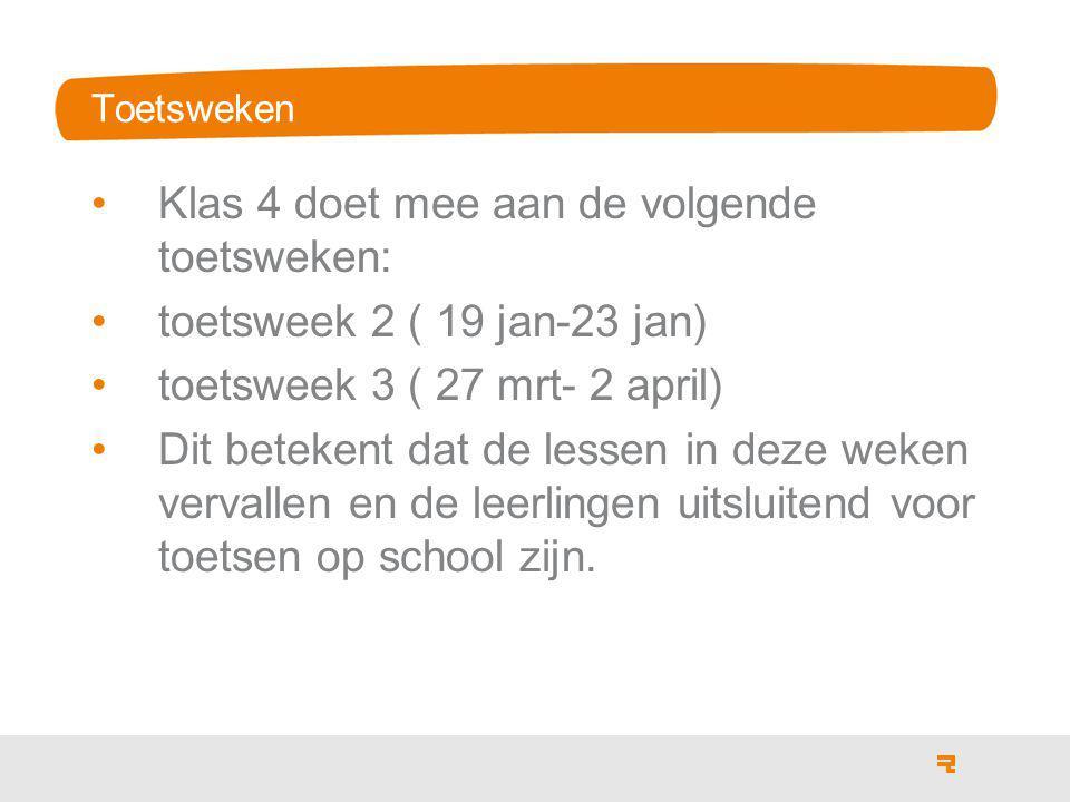 Toetsweken Klas 4 doet mee aan de volgende toetsweken: toetsweek 2 ( 19 jan-23 jan) toetsweek 3 ( 27 mrt- 2 april) Dit betekent dat de lessen in deze weken vervallen en de leerlingen uitsluitend voor toetsen op school zijn.