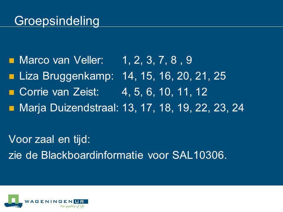 Groepsindeling Marco van Veller: 1, 2, 3, 7, 8, 9 Liza Bruggenkamp: 14, 15, 16, 20, 21, 25 Corrie van Zeist: 4, 5, 6, 10, 11, 12 Marja Duizendstraal:1