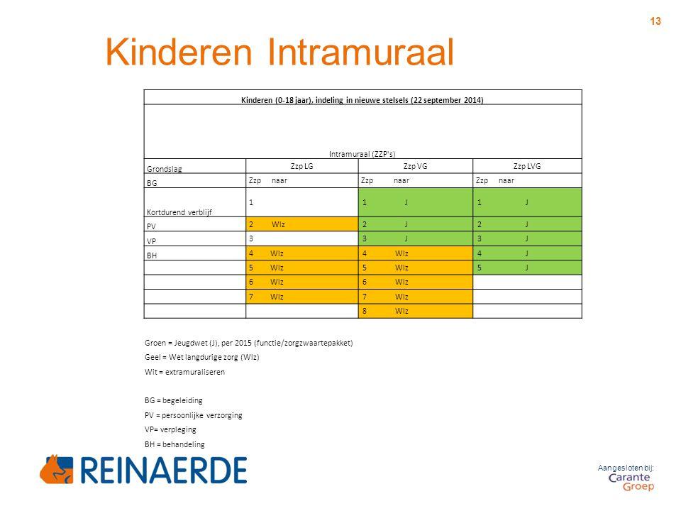 Aangesloten bij: 13 Kinderen (0-18 jaar), indeling in nieuwe stelsels (22 september 2014) Intramuraal (ZZP's) Grondslag Zzp LGZzp VGZzp LVG BG Zzp naa
