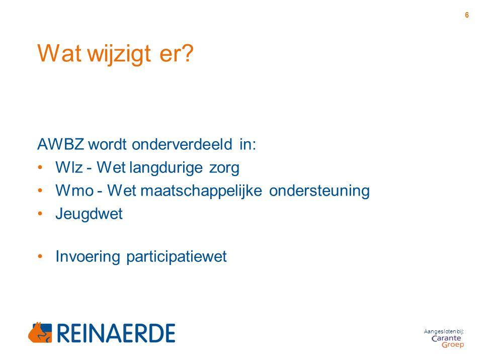 Wat wijzigt er? AWBZ wordt onderverdeeld in: Wlz - Wet langdurige zorg Wmo - Wet maatschappelijke ondersteuning Jeugdwet Invoering participatiewet 6