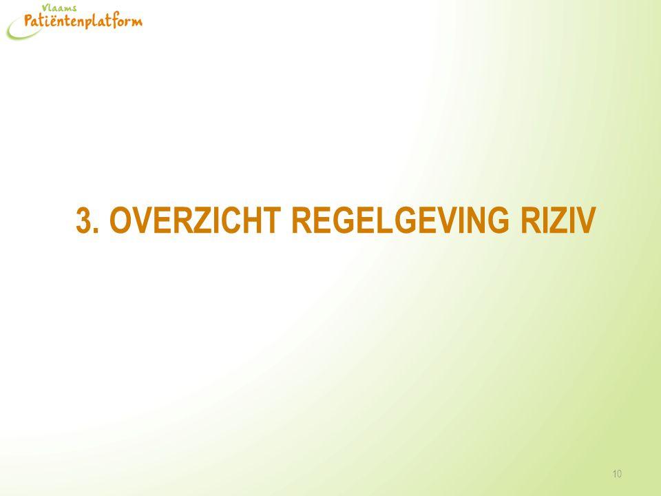 3. OVERZICHT REGELGEVING RIZIV 10