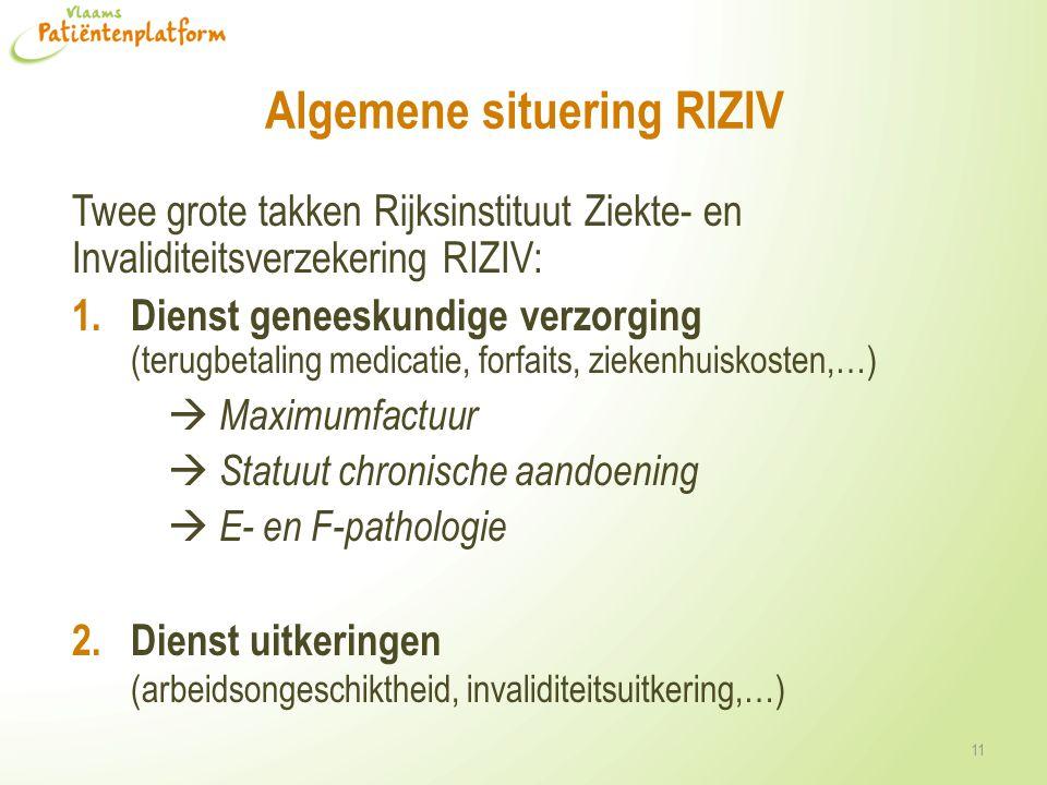 Algemene situering RIZIV Twee grote takken Rijksinstituut Ziekte- en Invaliditeitsverzekering RIZIV: 1. Dienst geneeskundige verzorging (terugbetaling