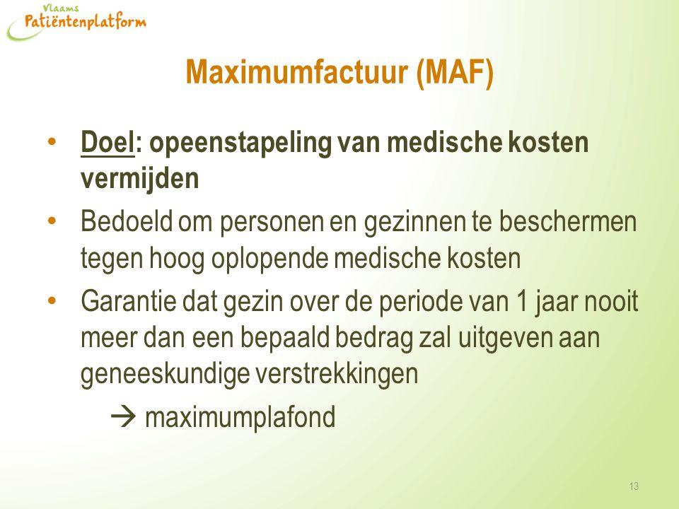 Maximumfactuur (MAF) Doel: opeenstapeling van medische kosten vermijden Bedoeld om personen en gezinnen te beschermen tegen hoog oplopende medische ko