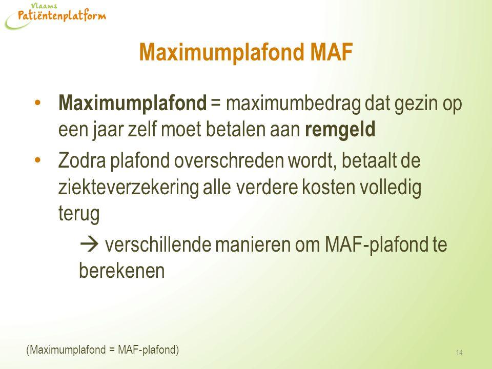 Maximumplafond MAF Maximumplafond = maximumbedrag dat gezin op een jaar zelf moet betalen aan remgeld Zodra plafond overschreden wordt, betaalt de zie