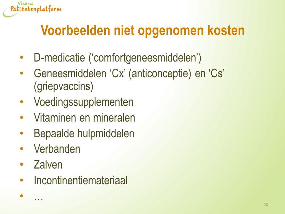 Voorbeelden niet opgenomen kosten D-medicatie ('comfortgeneesmiddelen') Geneesmiddelen 'Cx' (anticonceptie) en 'Cs' (griepvaccins) Voedingssupplemente