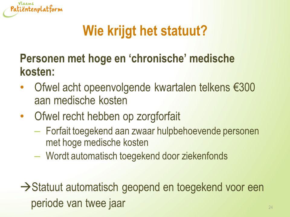 Wie krijgt het statuut? Personen met hoge en 'chronische' medische kosten: Ofwel acht opeenvolgende kwartalen telkens €300 aan medische kosten Ofwel r