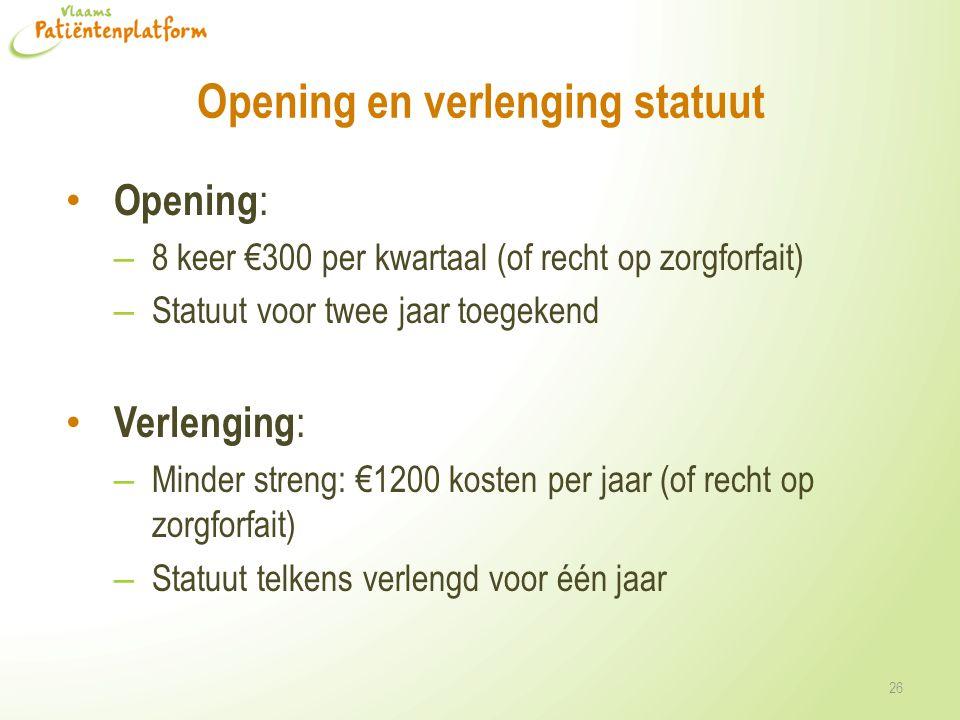 Opening en verlenging statuut Opening : – 8 keer €300 per kwartaal (of recht op zorgforfait) – Statuut voor twee jaar toegekend Verlenging : – Minder