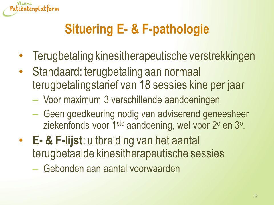 Situering E- & F-pathologie Terugbetaling kinesitherapeutische verstrekkingen Standaard: terugbetaling aan normaal terugbetalingstarief van 18 sessies